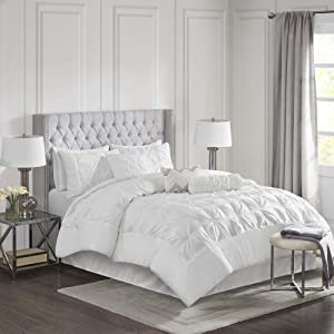 Madison Park Laurel 7 Piece Comforter Set-White-Queen