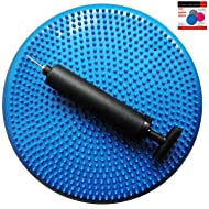AppleRound Air Stability Wobble Cushion, Blue, 35cm/14in Diameter, Balance Disc, Pump Included