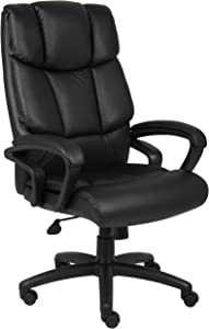 Boss Office Products High Back No Tools Required Top Grain Leather Chair in Black