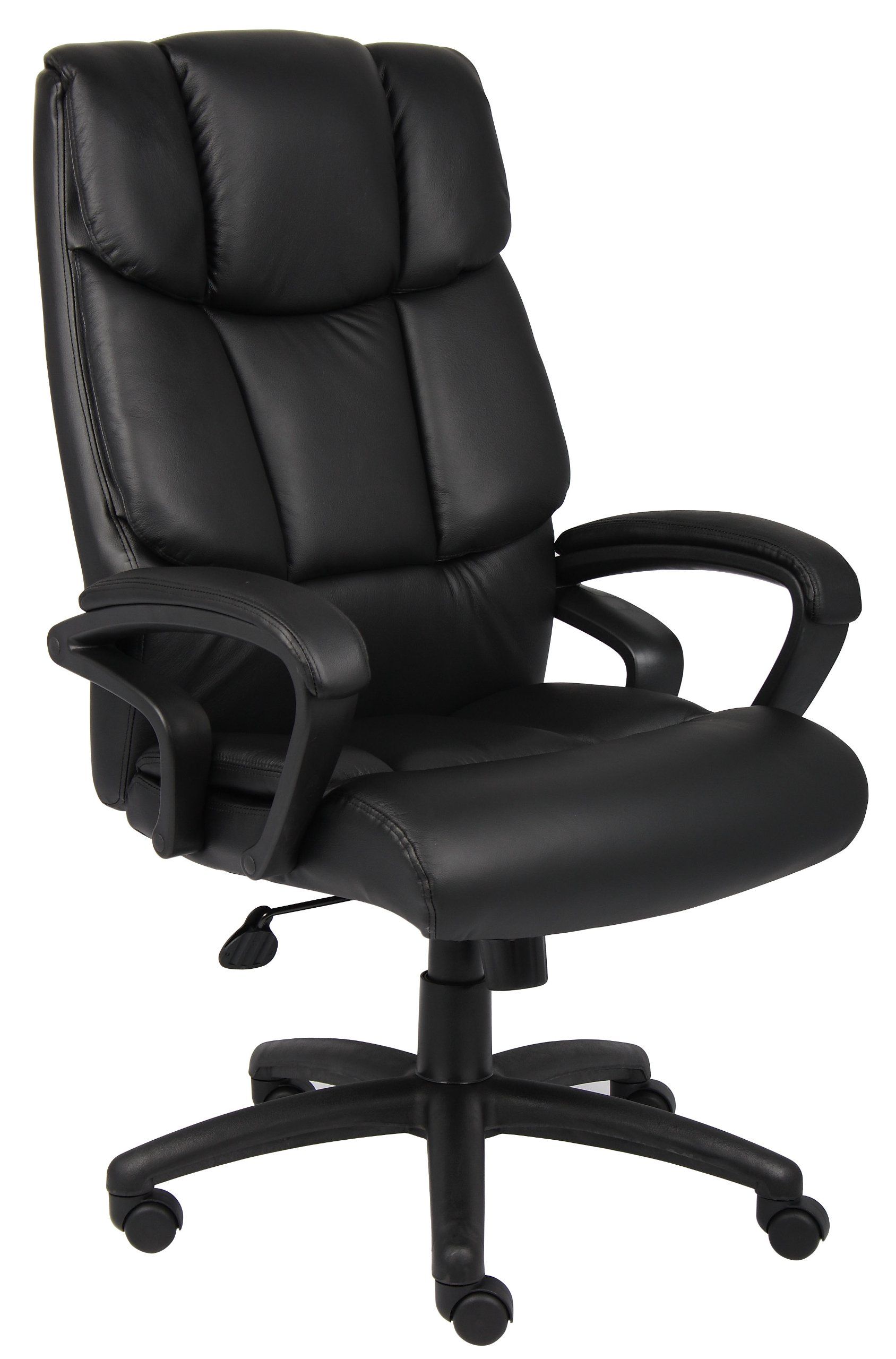 Boss Office Products B8701 High Back No Tools Required Top Grain Leather Chair in Black by Boss Office Products