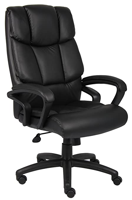 Boss Office Products B8701 High Back No Tools Required Top Grain Leather  Chair In Black