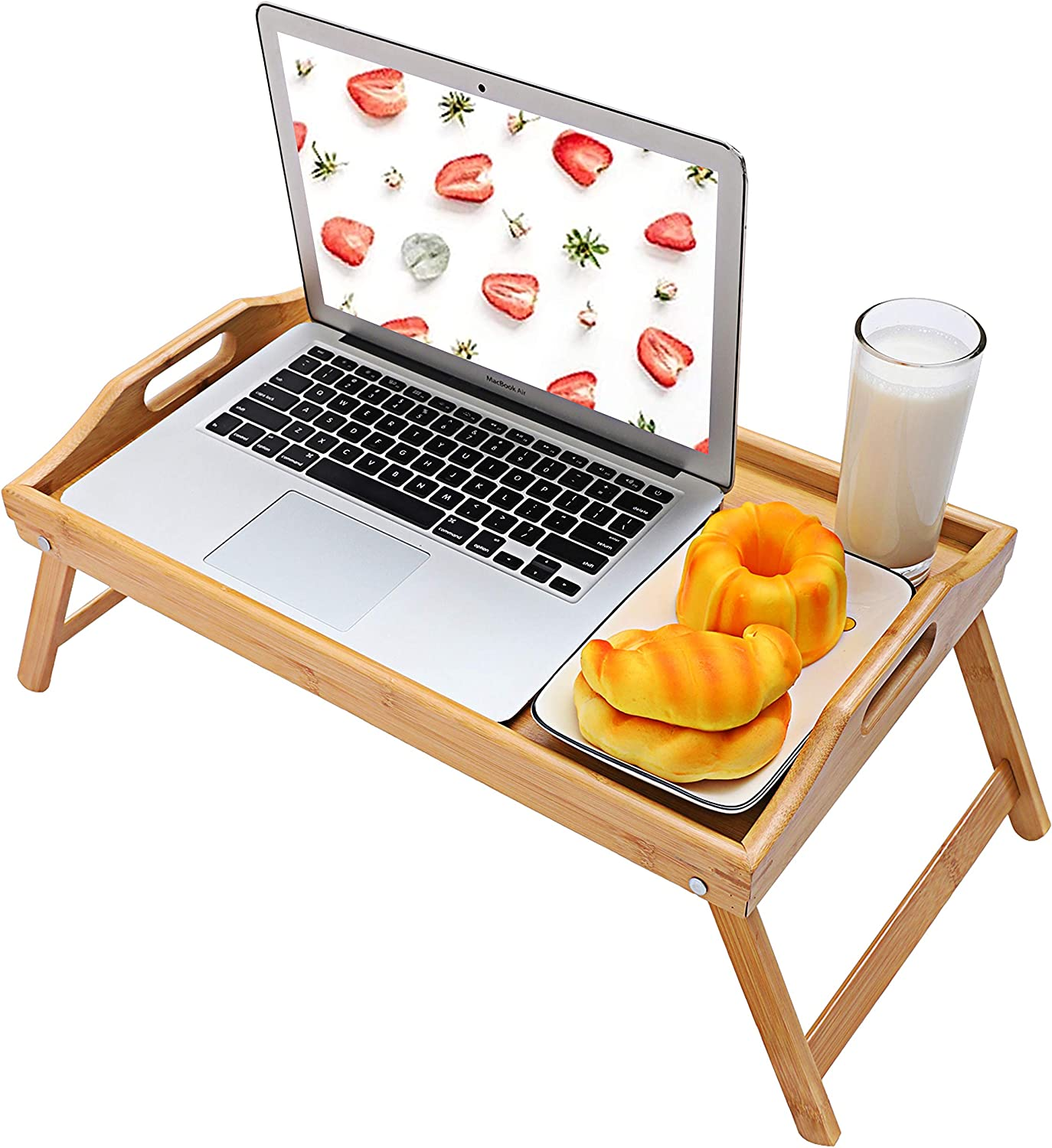 YUHUAWYH Bamboo Bed Tray for Eating Breakfast Trays for Bed Serving Trays with Handles Food in Bed Tray with Folding Legs 24 Inch