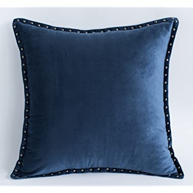 Navy Throw Pillow Cover Modern Metallic Rivet Velvet Texture Cushion Cover Square 20x20 Inch