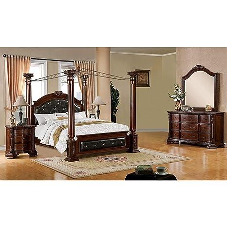 Amazon.com: Furniture of America Luxury Brown Cherry 4-Piece ...