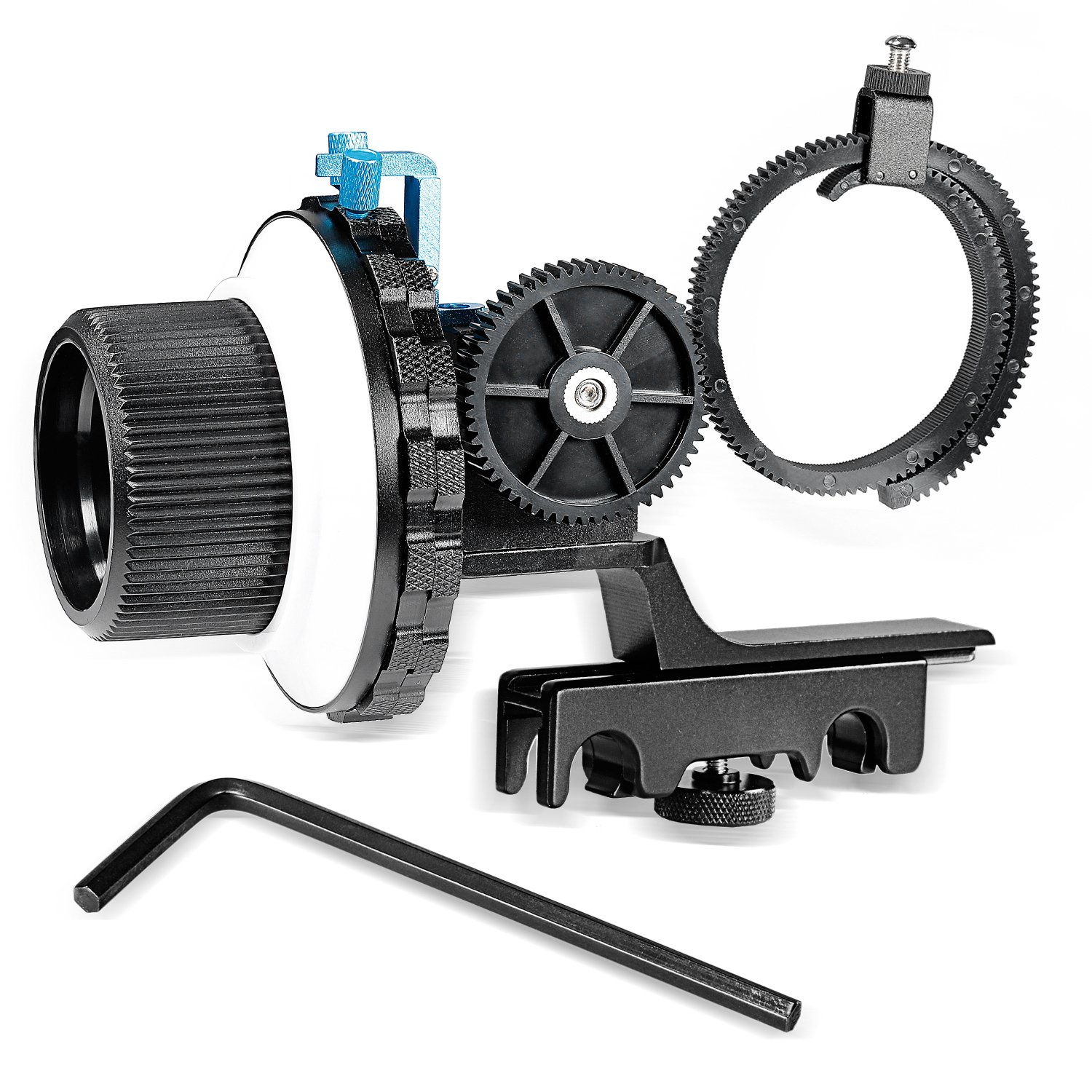 Neewer A-B Stop Follow Focus with Quick Release and Gear Ring Belt Mount for DSLR Cameras Camcorder,Fits Shoulder Supports,Stabilizers,Movie Rigs,All 15mm Rod Mounts by Neewer
