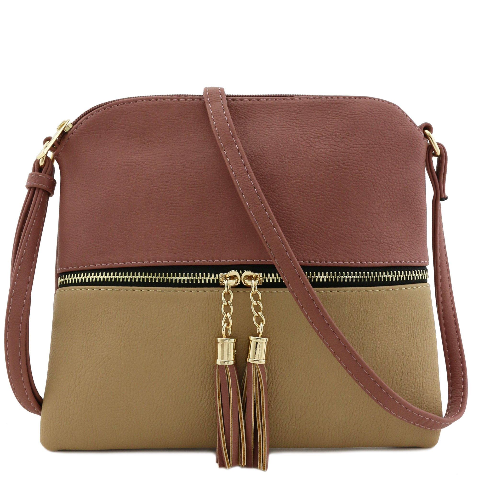 Lightweight Medium Crossbody Bag with Tassel (Mauve/Taupe)