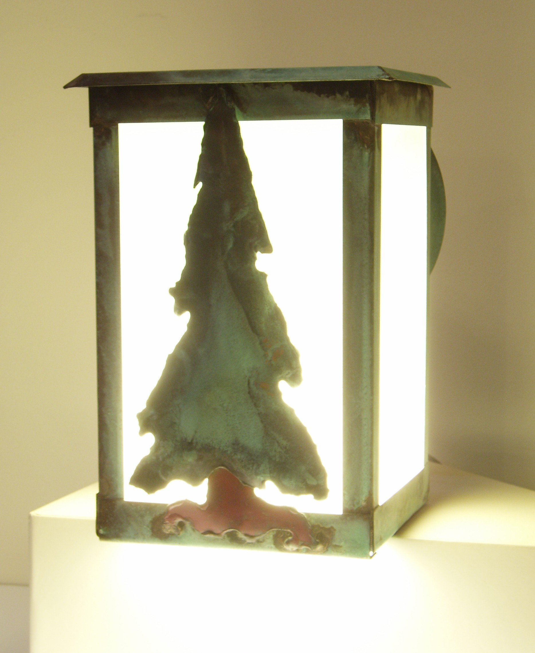 Tree lantern made in USA, solid copper