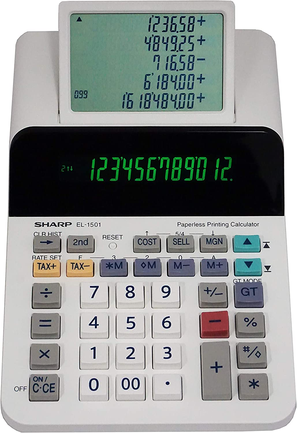 Sharp El-1501 Compact Cordless Paperless Large 12-Digit Display Desktop Printing Calculator That Utilizes Printing Calculator Logic