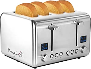 MegaChef 4 Slice Toaster in Stainless Steel Silver