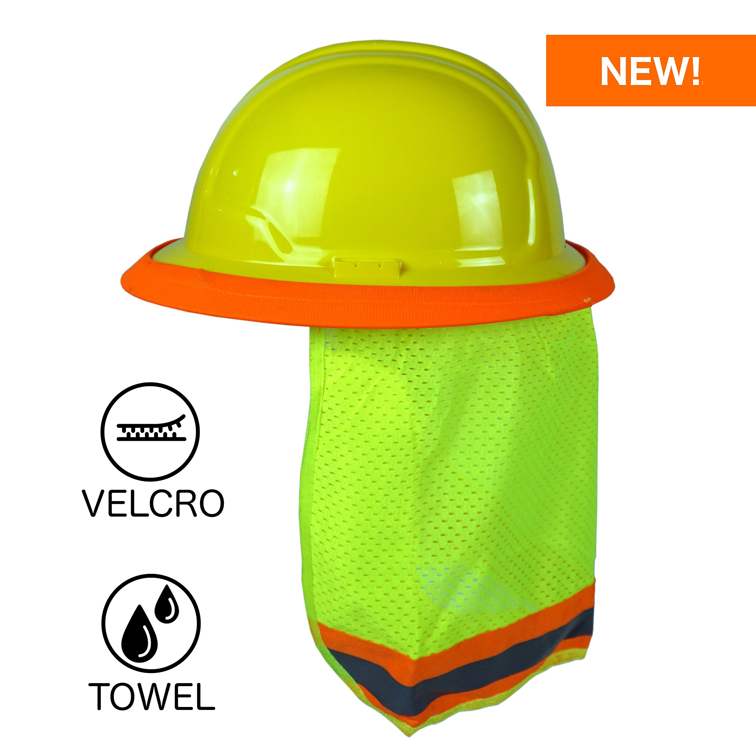 BEST EVER Pro Hard Hat Sun Shade. Premium Neck Shield with Velcro Fasteners and Built In Sweat Towel. Fits Both Full & Standard Brim Safety Helmets. Ideal for Construction, Landscaping, Gardening