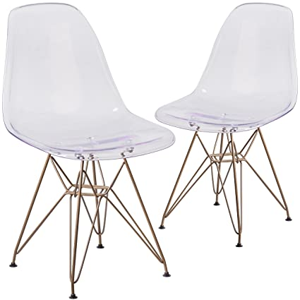 Flash Furniture 2 Pk. Elon Series Ghost Chair With Gold Metal Base