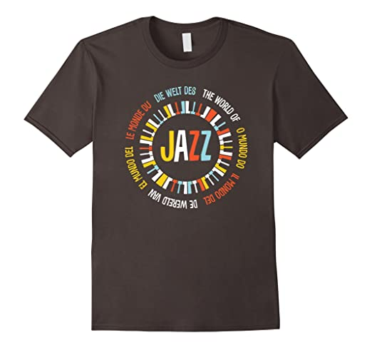 Mens Multilingual The World Of Jazz T-shirt 2XL Asphalt