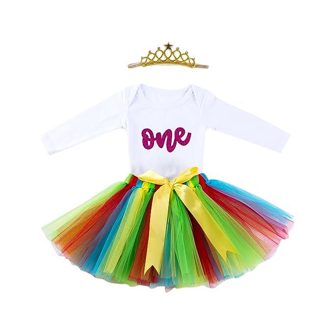 514efbe473dd Marlegard Baby Girls 1st Birthday Outfit Glitter One Romper Tutu Skirt  Crown Headband (Hot Pink