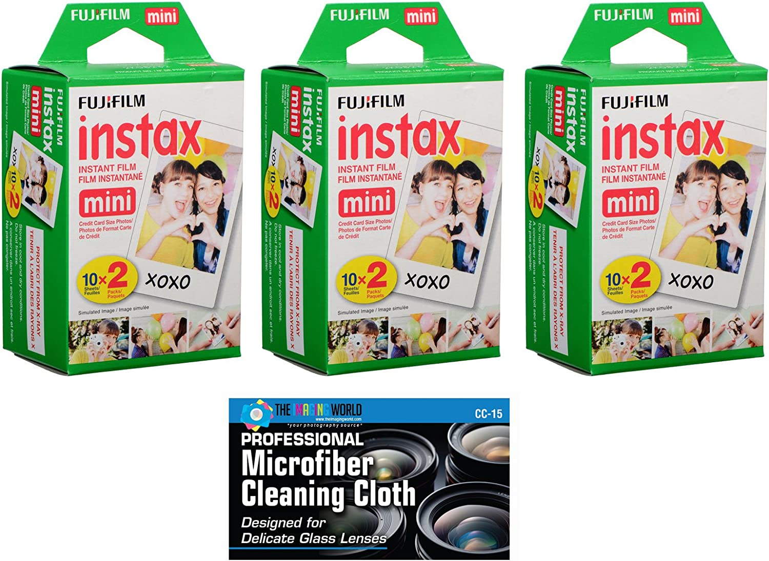 Fujifilm Instax Mini Instant Film Bundle with Microfiber Cleaning Cloth (3-Pack)