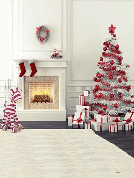 5x7 zebra fireplace christmas tree photography backdrops for children no crease photo studio background ft0032 - Fireplace Christmas Decorations Amazon