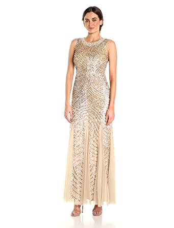 Amazon.com: Aidan by Aidan Mattox Women\'s Beaded Gown with Godets ...