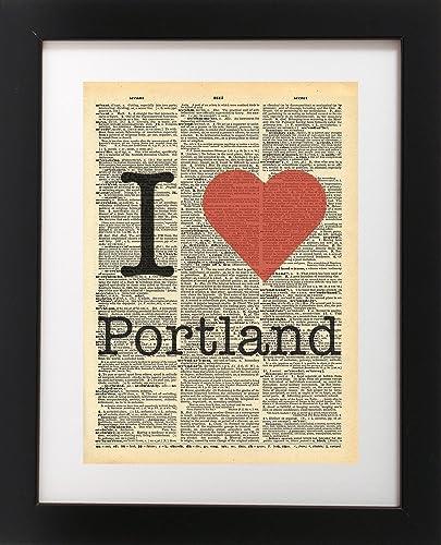 Amazon.com: I Heart Portland Oregon Vintage Dictionary Print 8x10 ...