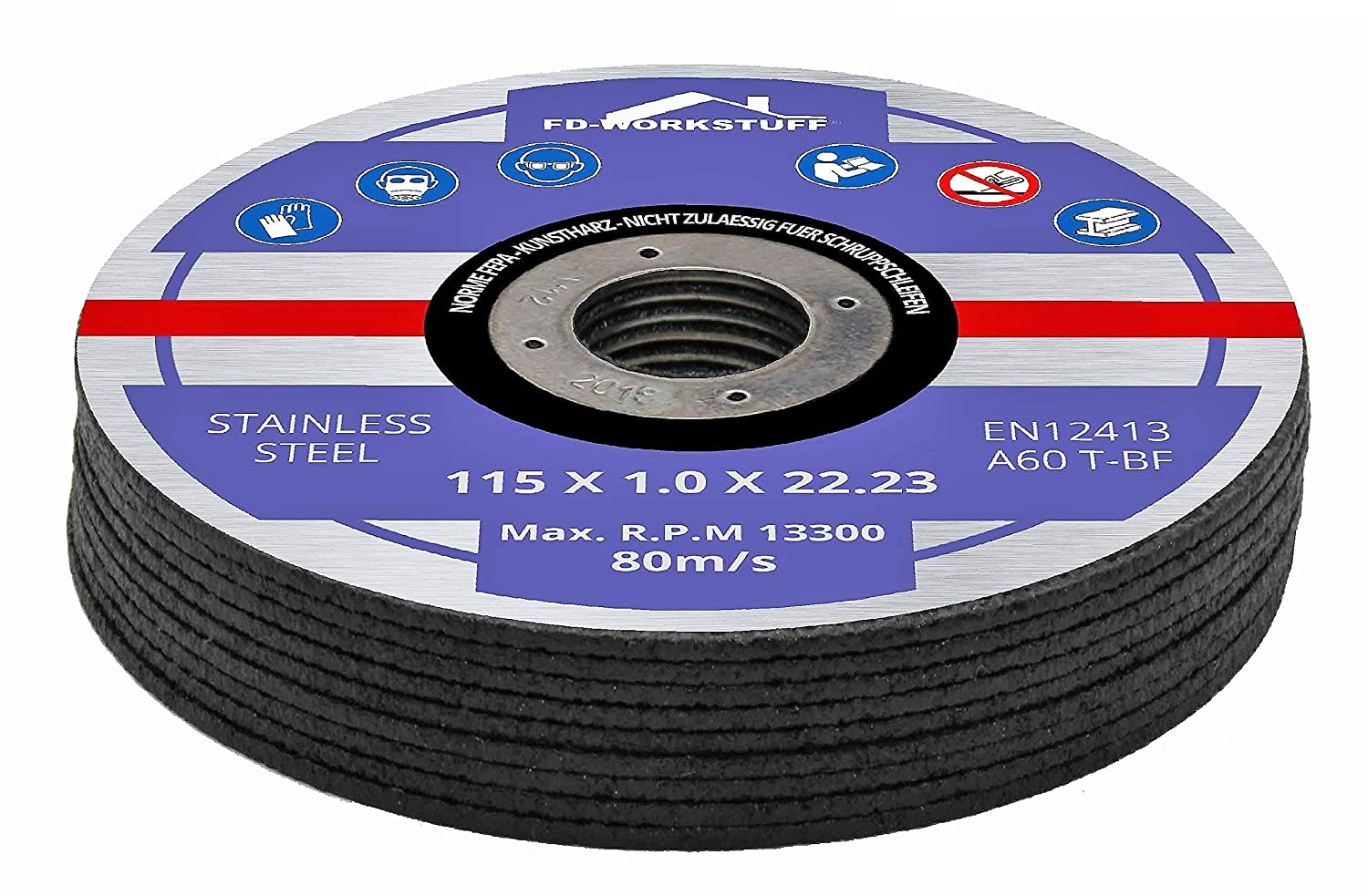 10 x Inox stainless steel cutting discs 115 x 1.0 mm for cutting or angle grinders, flex fd-workstuff