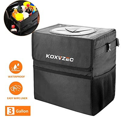 Cart Trash Can Koxvzec Large Capacity Garbage Bag with Lid and Storage Pockets Leak-Proof Vinyl Multipurpose Truck Organizer (1pack): Automotive
