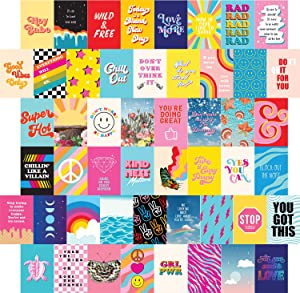 Artivo Bright Retro Wall Collage Kit Aesthetic Pictures 50 Set 4x6, Colorful Indie Wall Decor for Teen Girls, VSCO College Dorm Room Decor Photo Collection