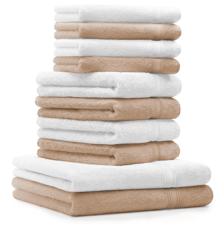 draps de Bain 4 Serviettes de Toilette 4 lavettes qualit/é 600 g//m/² 100/% Coton Gold Couleur Blanc BETZ Lot de 10 Serviettes Set de 2 Serviettes Beige