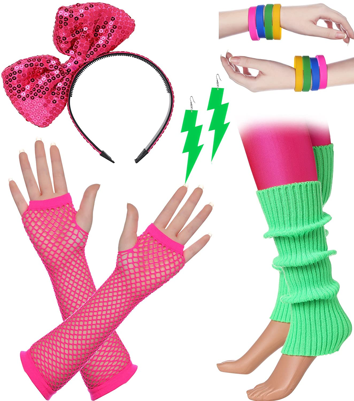 BABEYOND 80s Outfit Costume Accessories Neon Earrings Fishnet Gloves Leg Warmers Headband Bracelets US-80set-2-2