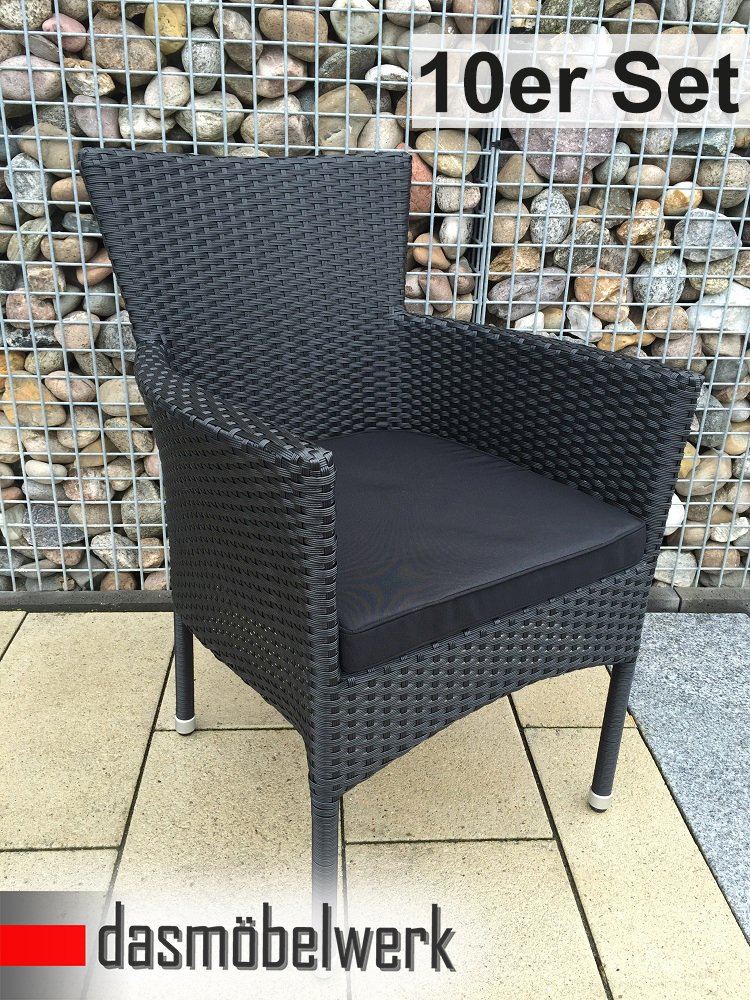 10er SET dasmöbelwerk Polyrattan Sessel Stuhl stapelbar Rattan Gartenmöbel schwarz Gartensessel HAWAI