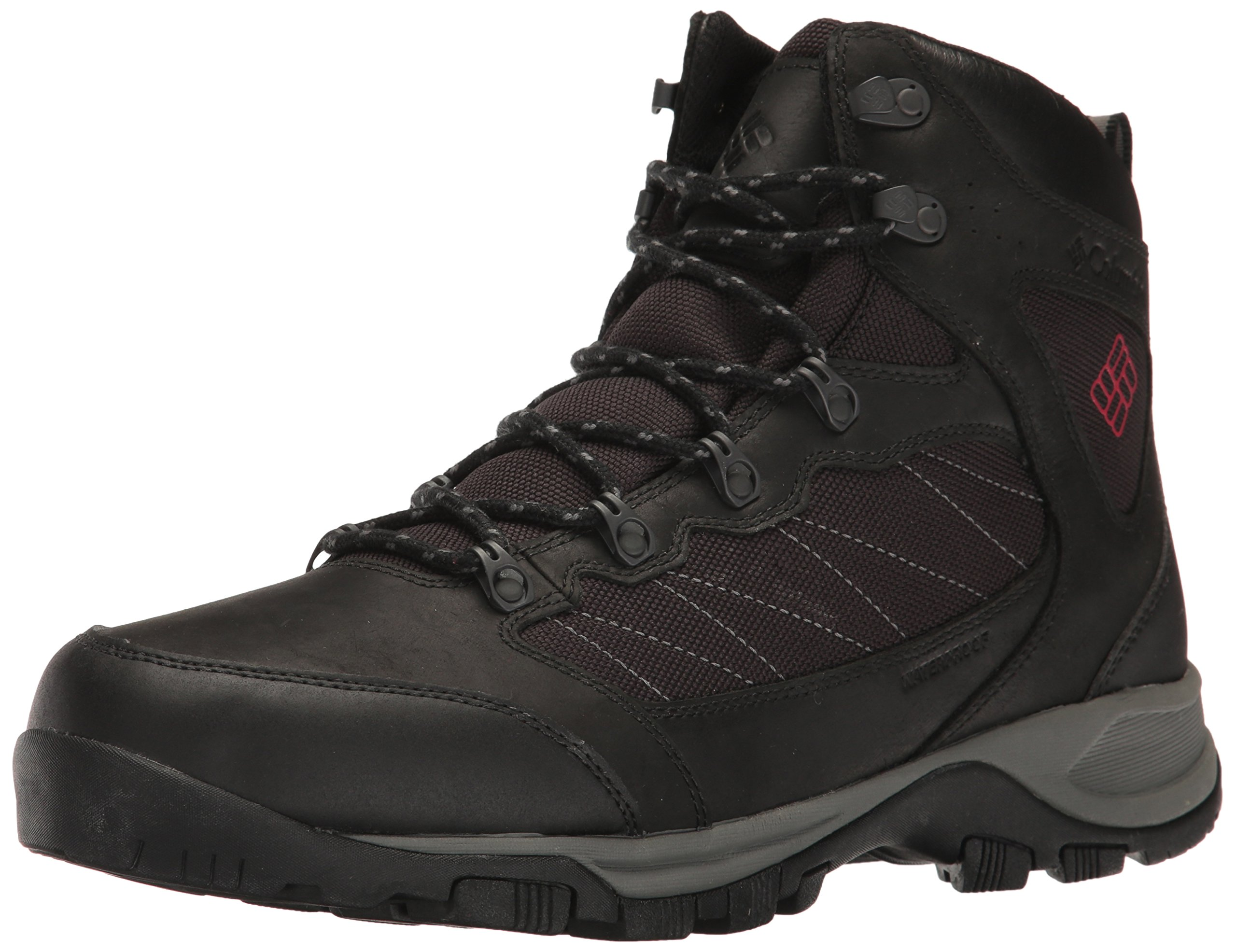 Columbia Men's Cascade Pass Waterproof Hiking Shoe, Black, Mountain Red, 7 D US
