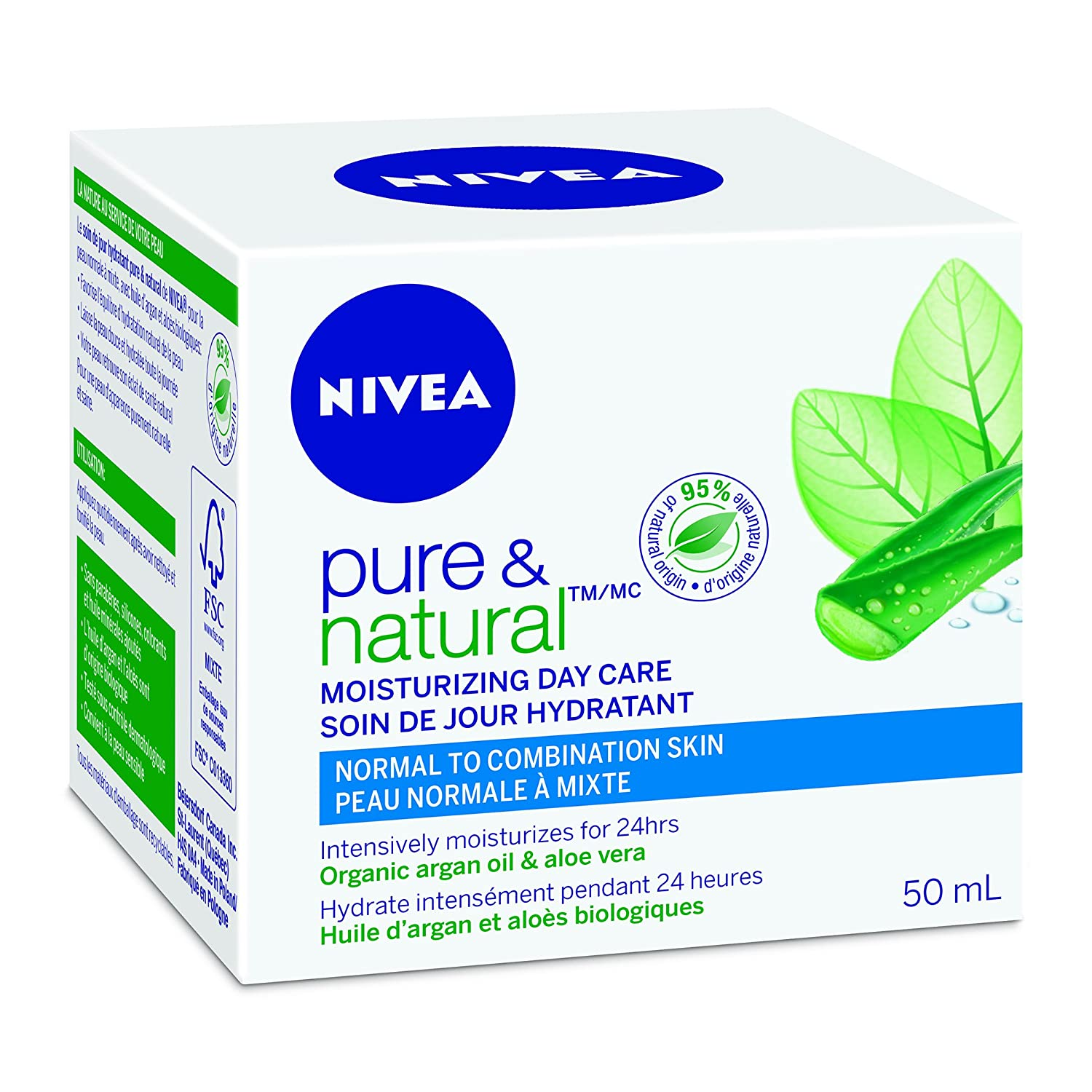 NIVEA Pure & Natural Moisturizing Day Care for Normal to Combination Skin, 50mL jar 056594002975