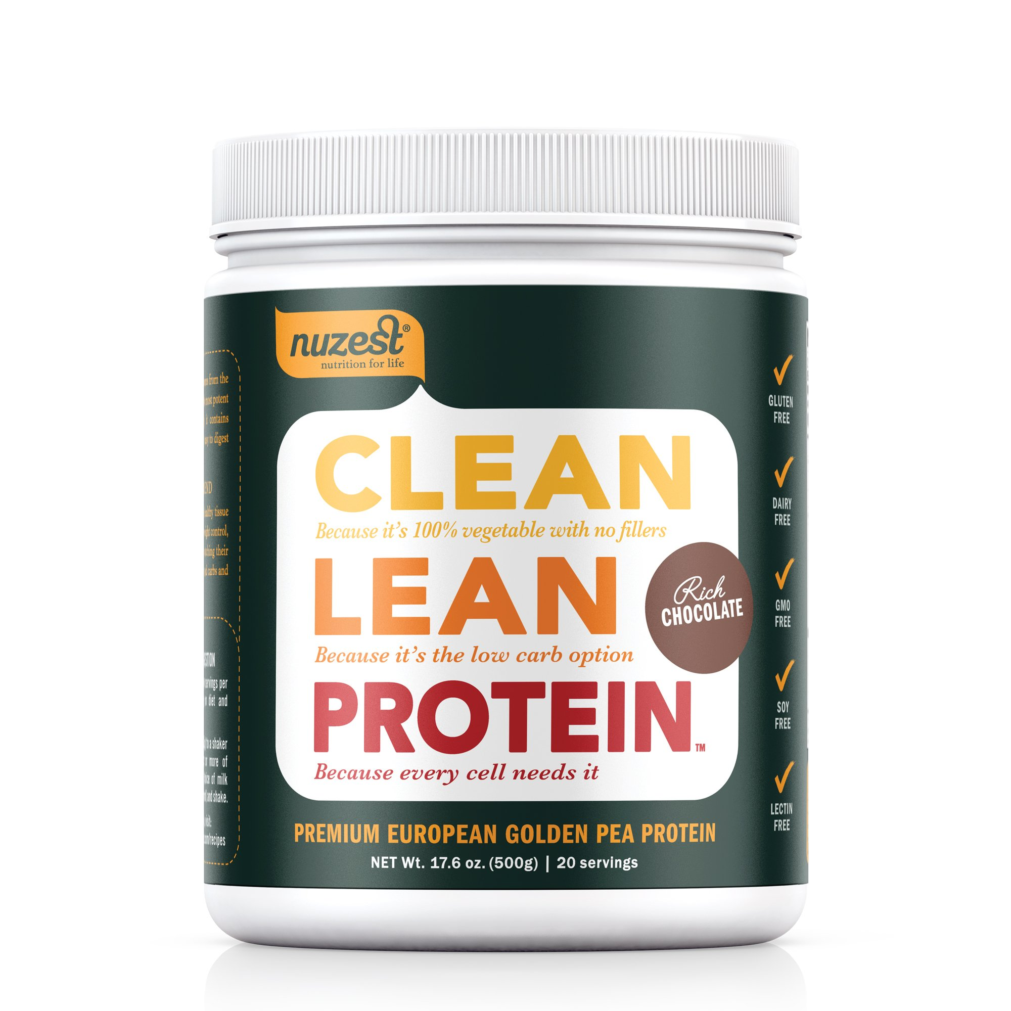 Nuzest Clean Lean Protein - Premium Vegan Protein Powder, Plant Protein Powder, European Golden Pea Protein, Dairy Free, Gluten Free, GMO Free, Naturally Sweetened, Rich Chocolate, 20 Servings, 1.1 lb