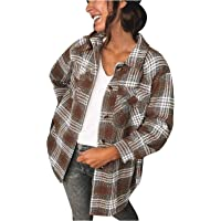 Tops de Moda para Mujer, Chaqueta a Cuadros para Mujer Chaqueta Transición Talla Grande Camisa a Cuadros con Bolsillos…