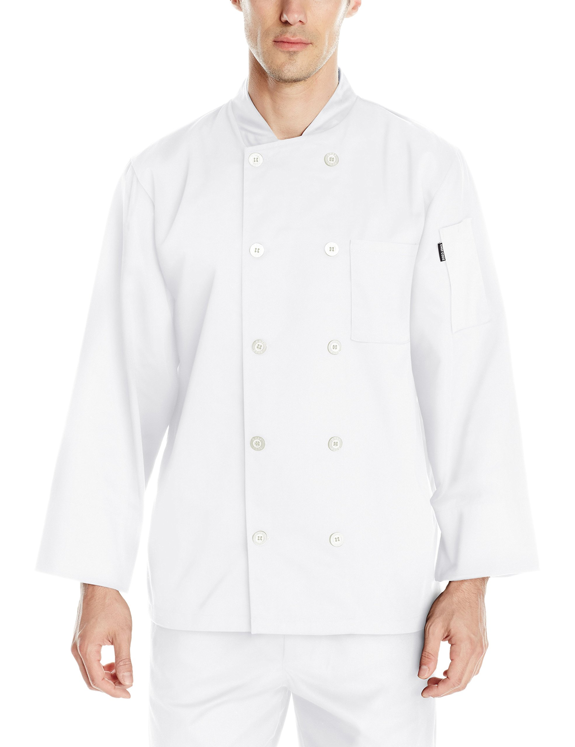 Chef Code Men's Basic Pearl Button Long Sleeve Coat, White, Medium by Chef Code (Image #1)
