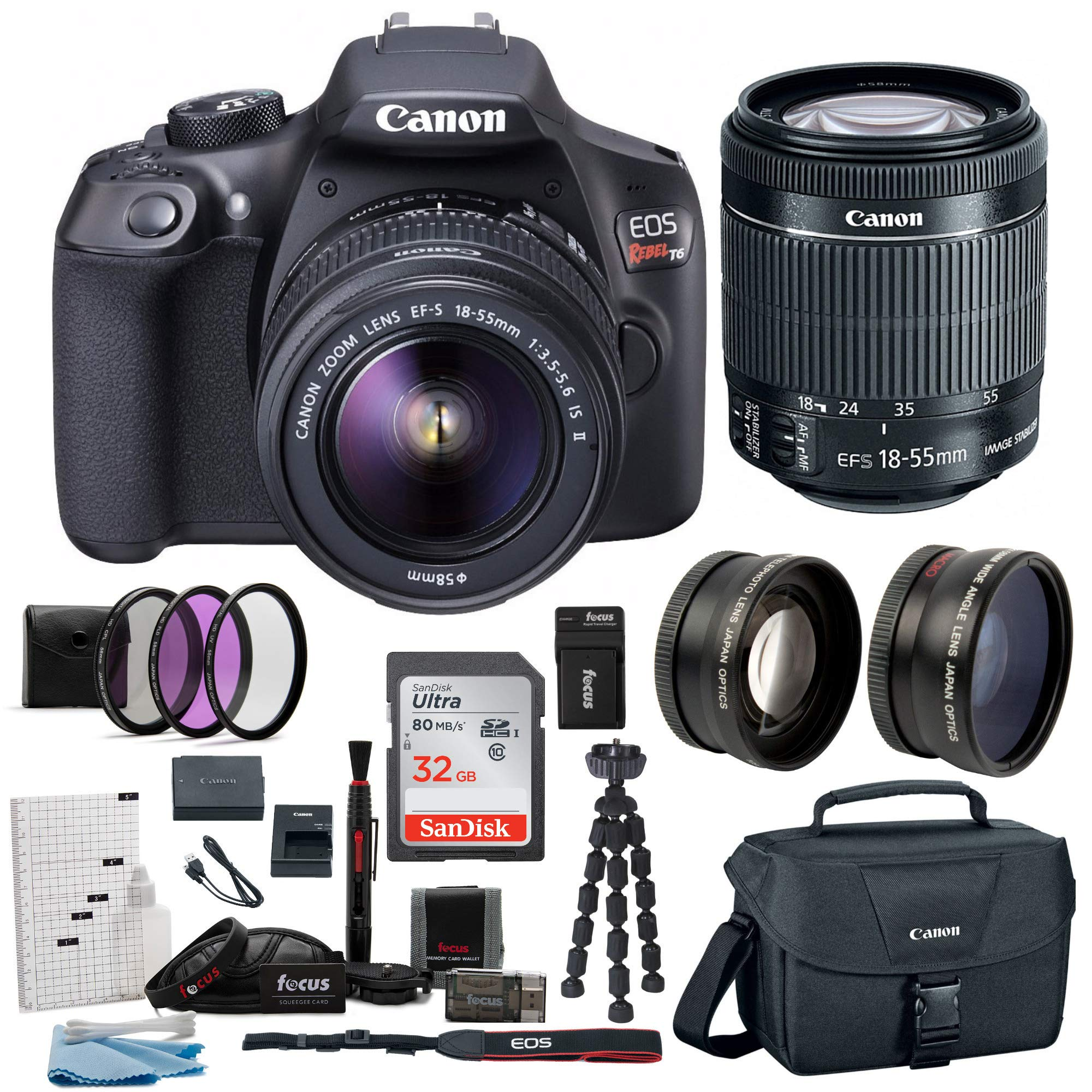 Canon EOS Rebel T6 Camera Accessory Kit with Lens and Carry Bag, 58mm - 3 Piece Filter Kit, 2 Piece Wide Lens Set, Replacement 1600mAh Battery and Charger, 32GB SD Card, 12'' Tripod & Cleaning Kit by Canon
