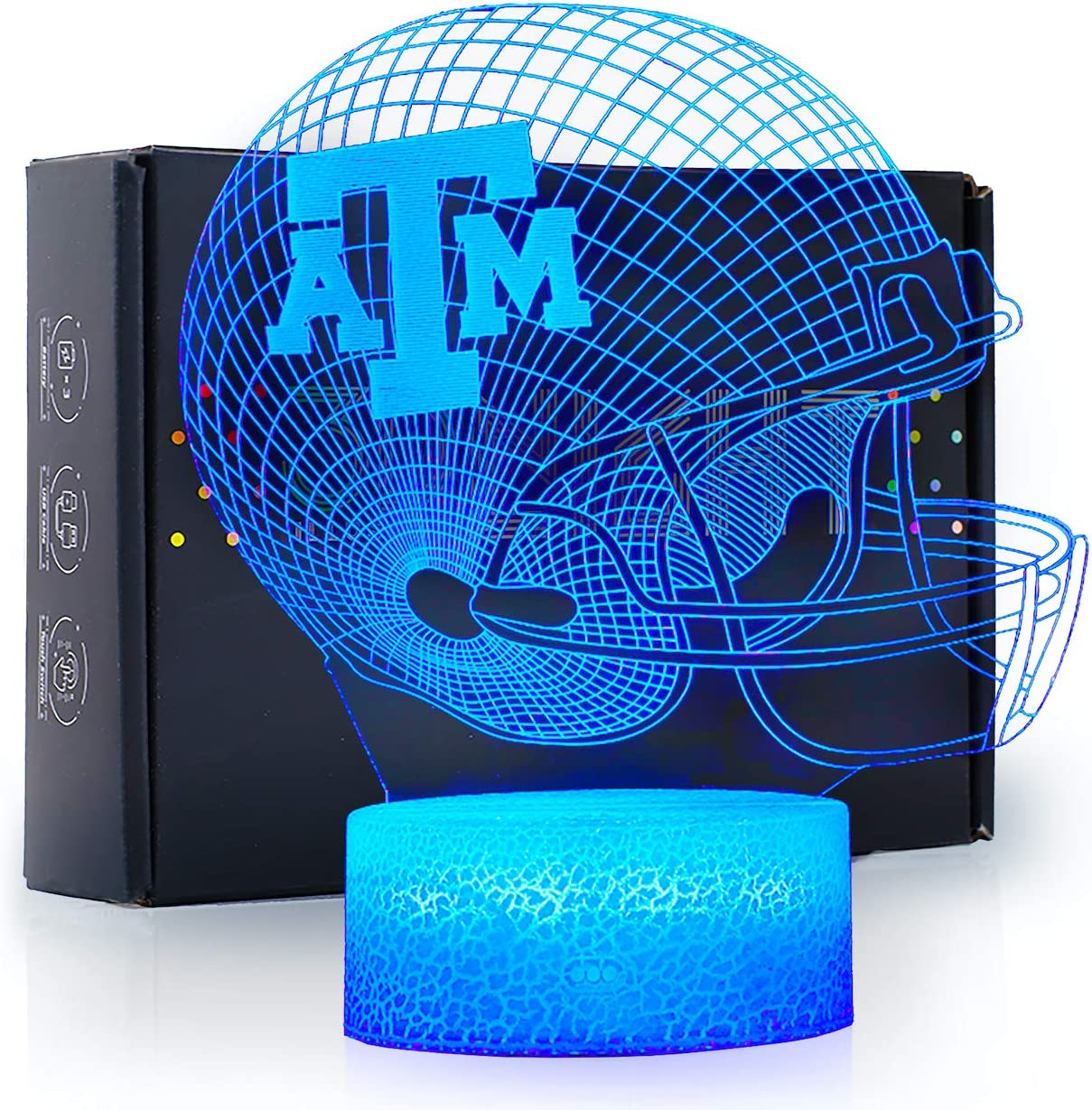 Ikavis 3D LED Night Light Football Helmet Texas A&M Aggies Flat Acrylic Illusion Lighting Lamp with 7 Colors and Touch Sensor, Sports Fan Nightlight Gift for Kids, Boys, Girls, Men or Women