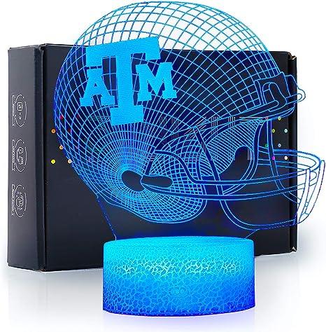 Amazon Com Ikavis 3d Led Night Light Football Helmet Texas A M Aggies Flat Acrylic Illusion Lighting Lamp With 7 Colors And Touch Sensor Sports Fan Nightlight Gift For Kids Boys Girls Men Or