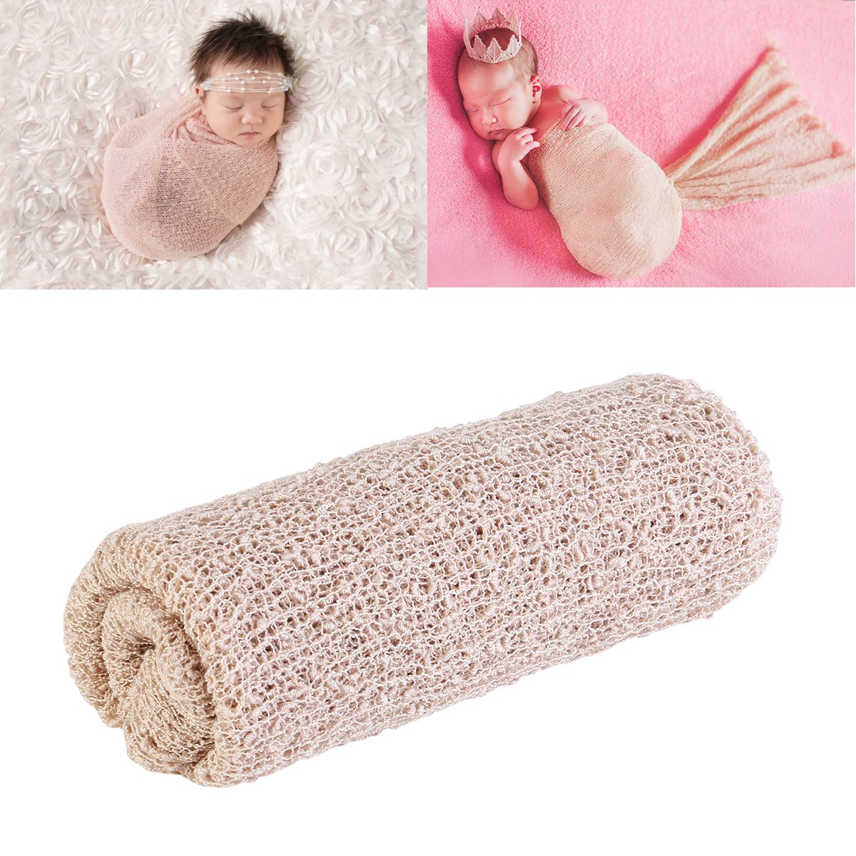 OULII Lange Wellen Sie Wrap, DIY neugeborenes Baby Fotografie Wrap-Babyfoto Props (Beige)