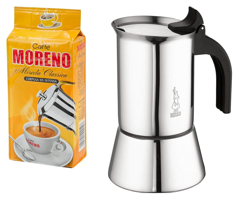 """Bialetti Venus Espressokocher 6 Tassen, Edelstahl, Induktion, inkl. 250gr. Italienischer Espresso """"Cafe Moreno"""" Kostbar Versandhandel"""