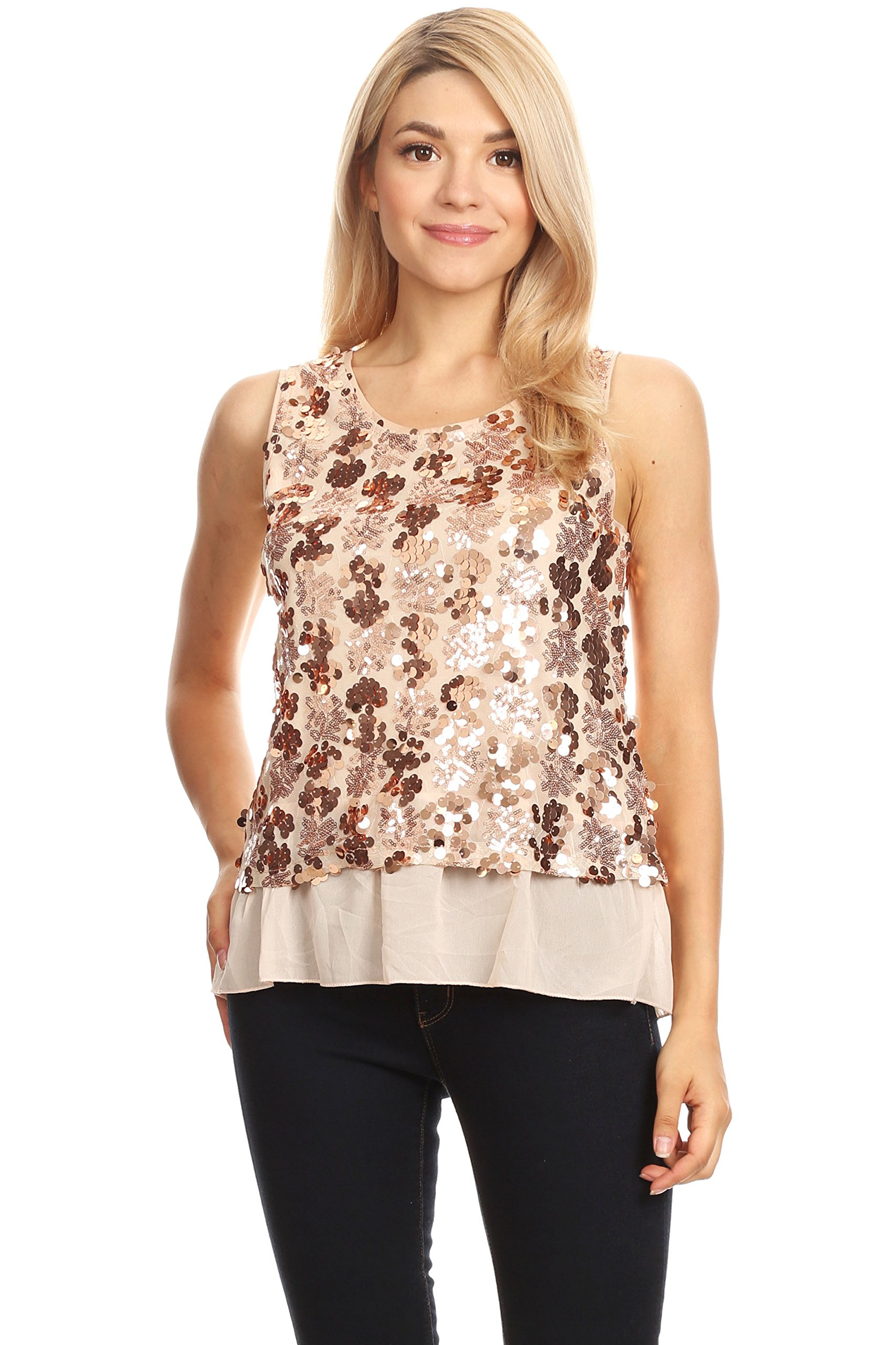 a1fa3e45 Anna-Kaci Womens Sequin Wide Strap Sheer Ruffle Hem Sparkly Party Dance Tank  Top, Rose Gold, X-Large