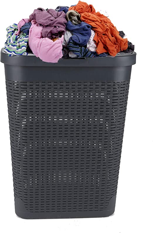 Slim Rattan-Look Laundry Basket Hamper Used Clothes Washing Storage Tall Bin Bag