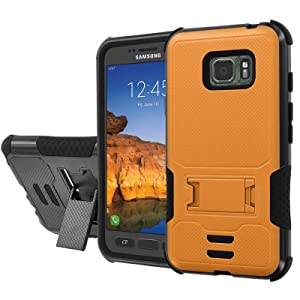 [AT&T] Galaxy [Active S7] Armor Case [NakedShield] [Black/Black] Urban Shockproof Defender [Kick Stand] - [Orange] for Samsung Galaxy [S7 Active]