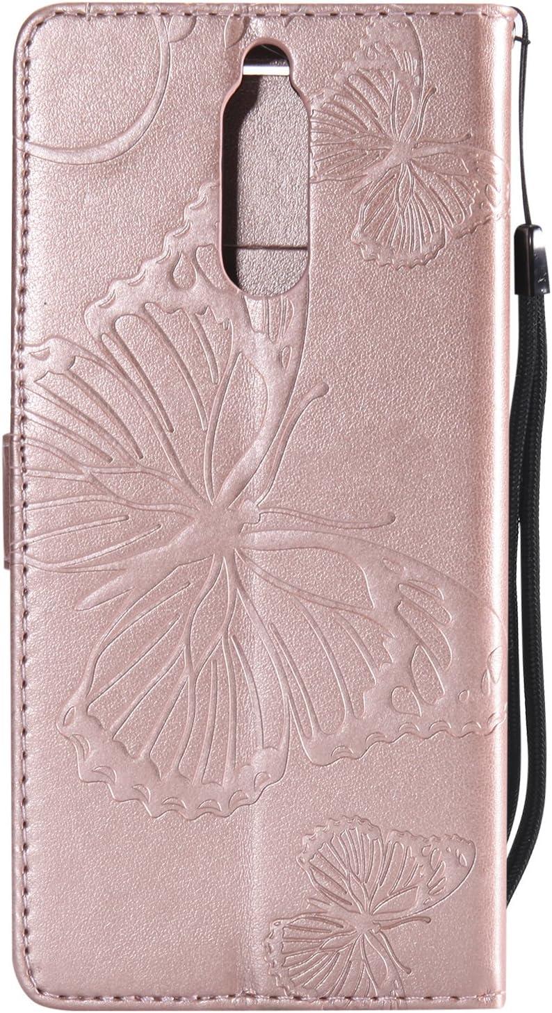 TOUCASA Huawei P10 Lite Handyh/ülle,Huawei P10 Lite H/ülle Grau Brieftasche Flip PU Leder ledercase Magnet Leder H/ülle 3D Schmetterling f/ür/Huawei P10 Lite-