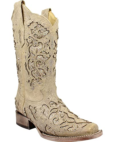 e9879b55e217 CORRAL Women's White Glitter and Crystals Cowgirl Boot Square Toe White ...