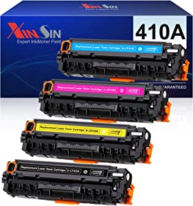 Xinsin Compatible Toner Cartridge Replacement for HP 410A CF410A CF411A CF412A CF413A to use with Color Laserjet Pro MFP M477FDW M477FDN M477FNW M452DN-M452NW M452DW M477 M452 Printer (4-Pack)