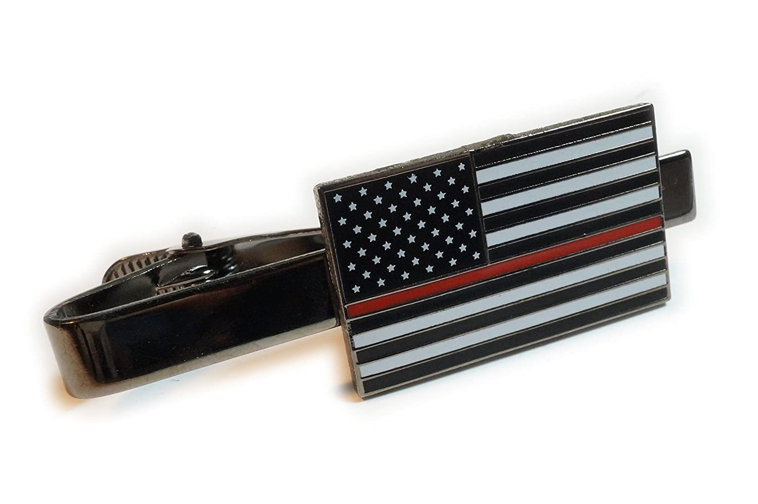 Thin Red Line Fallen Fireman Fire Fighter US Flag Support Tie Bar Clip GeoPromotions