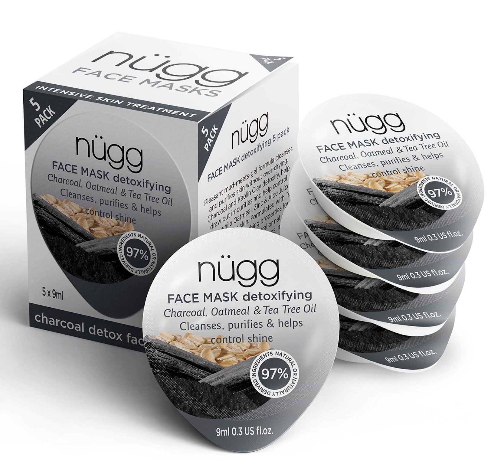 nügg Black Charcoal Face Mask; Cleanses Pores, Detoxes and helps Reduce Shine; for Normal, Oily, Combination and Acne-Prone Skin; Non-Drying Gel Formula; 5 Pack