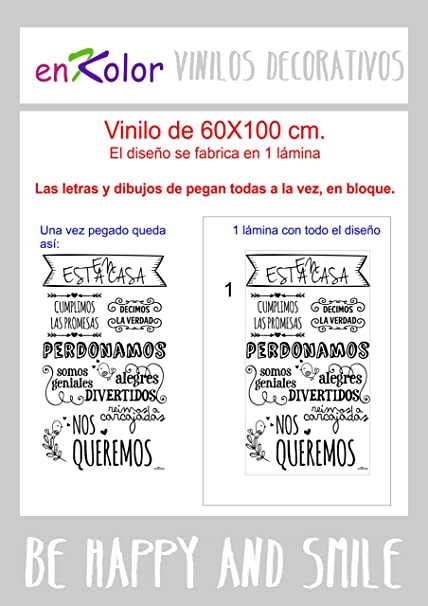 Enkolor Vinilos decorativos frases Normas casa/Pegatinas pared/Gris/60X100cm.: Amazon.es: Hogar