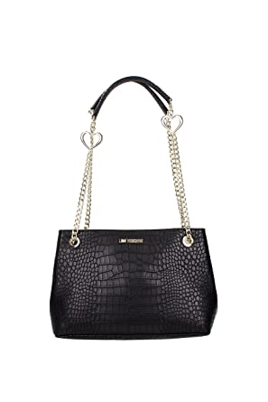 8884dae79a08 LOVE MOSCHINO ACCESSORIES Moc Croc Heart Chain Shoulder Bag One Size BLACK   Amazon.co.uk  Clothing