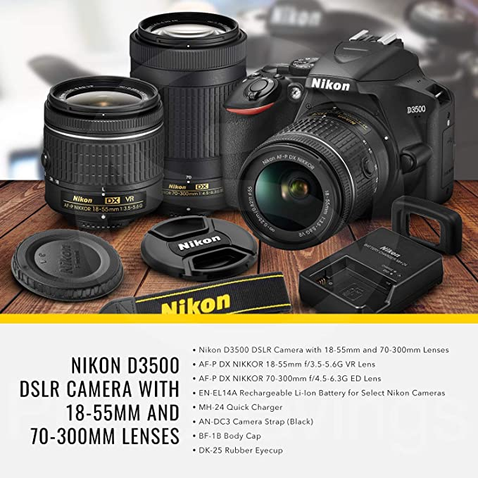 Nikon D3500 DSLR Camera with 18-55mm and 70-300mm Lenses + 32GB Card, Tripod, Flash, and Bundle