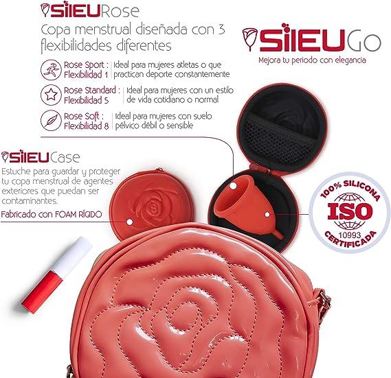 Pack Sileu Go: Copa menstrual Rose - Modelo de iniciación - Alternativa ecológica, natural a tampones y compresas - Talla L, Transparente, ...