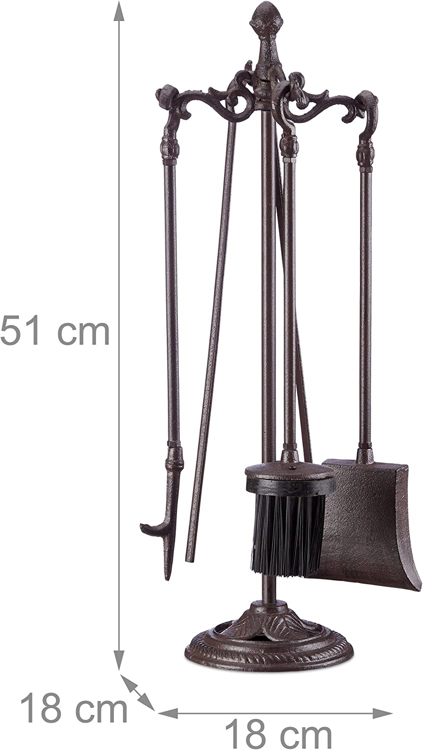 72 x 21 x 12.5 cm 4-Piece Fireplace Companion Set with Shovel Black Relaxdays Modern Cast Fire Irons Knight Broom Poker and Rack